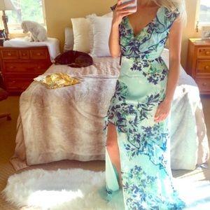 LULU'S WEDDING GUEST Blue Sexy Ruffle Maxi Dress